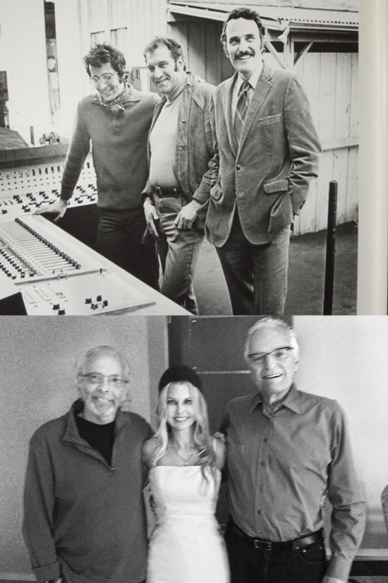 Herb Alpert, my dad, Jerry Moss - installing first console at A&M Records. Me with Herb and Jerry in 2016 memorializing their blessings to develop a series at Fox based on A&M Records.