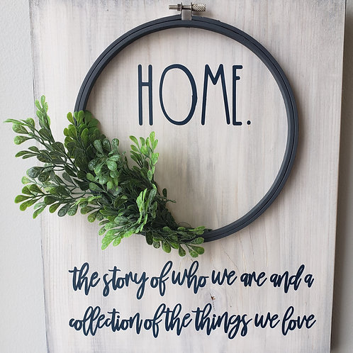 HOME sign with hoop