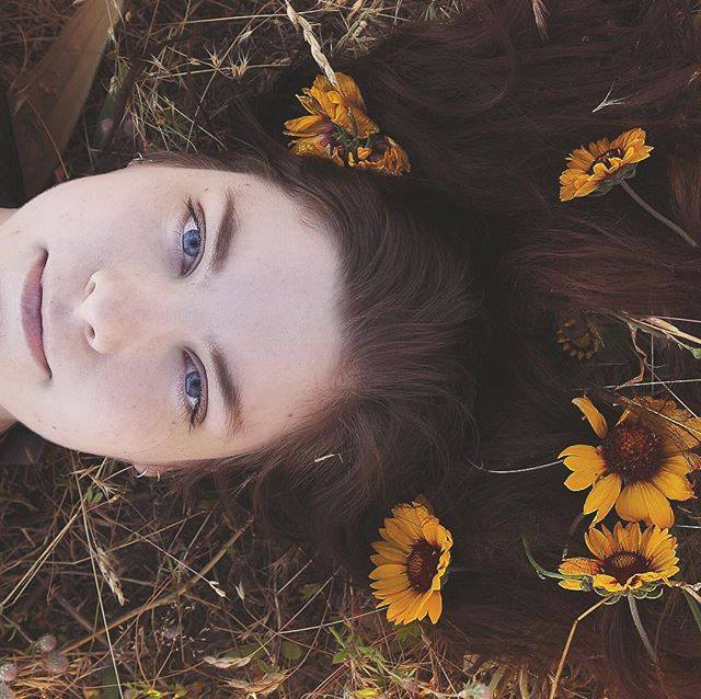Sunflowers and Woman portrait