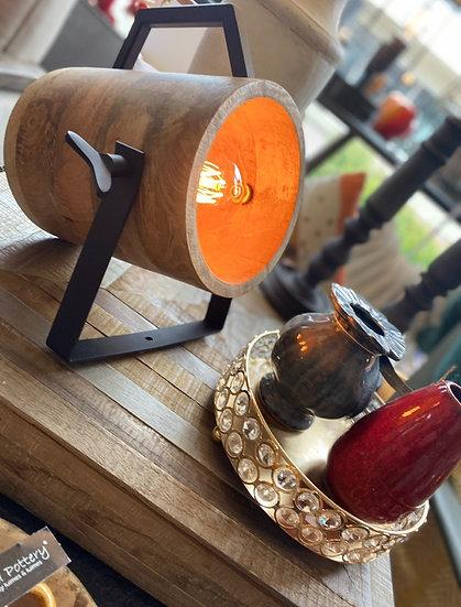 Tafel lamp stoer hout
