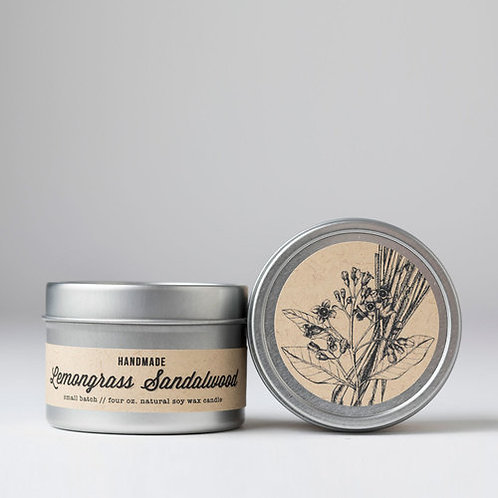 Lemongrass Sandalwood : Tin Candle