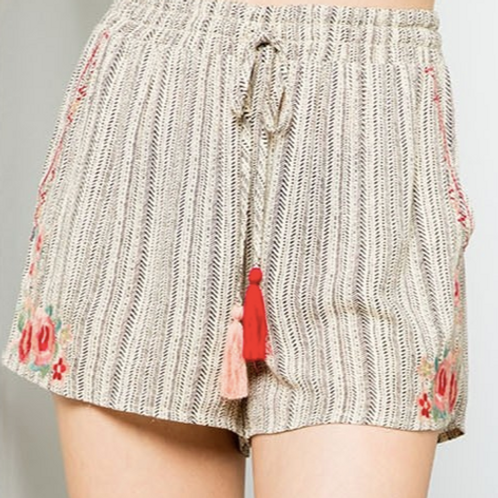 Printed Shorts with Embroidery