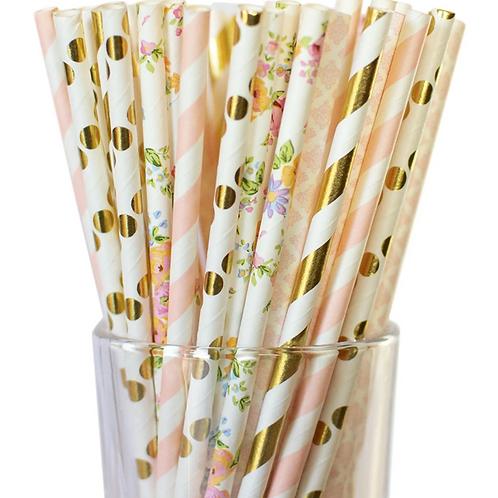 Floral Metallic Paper Straws