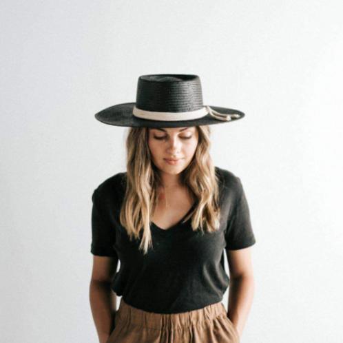 Bre Stiff Straw Hat - Black
