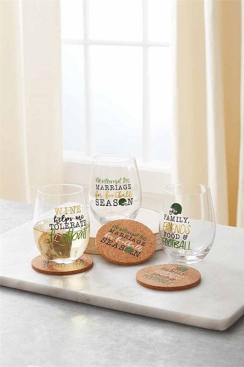 Football Wine Glass Coaster Set