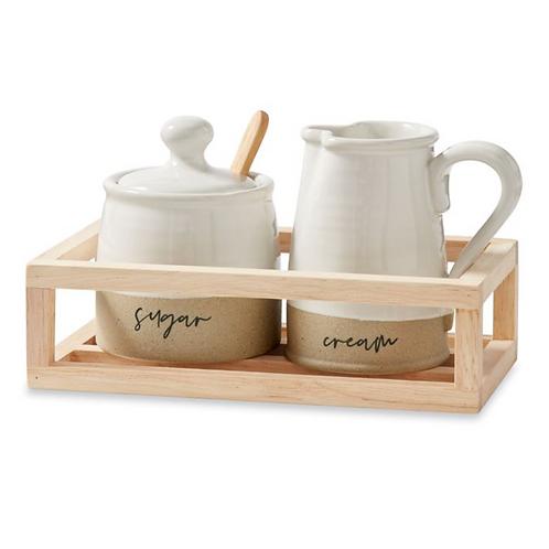 Stoneware Cream & Sugar Crate Set