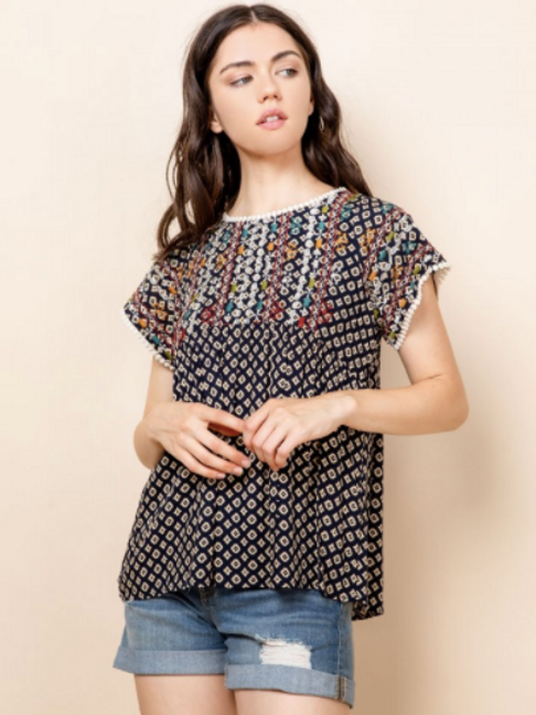 Geo Print Embroidered Top