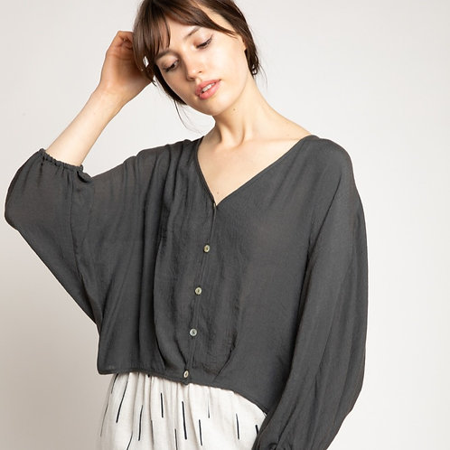 Button Up Sheer Blouse