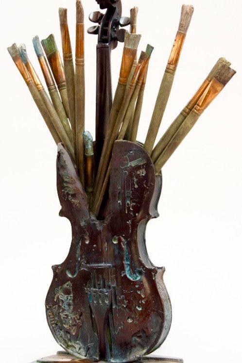 PARIS  MYRIAM SITBON Sculpture bronze «LES 4 VIOLONS» Dimensions : 78x26 cm