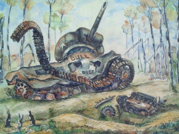 Tank in mijnenveld 1945