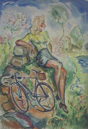 Vrouw met fiets 1943