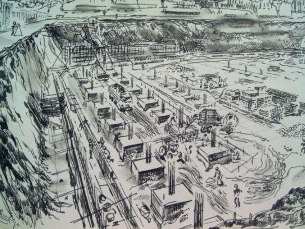 Vrijthof bouw parkeergarage 1970