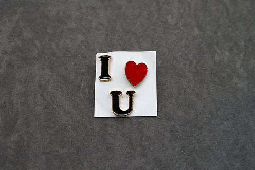 Set of 3 I Love U Pins