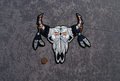 Large Cow Skull Iron On Patch