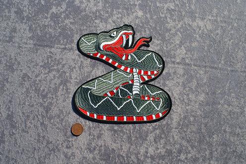 Large Grey Snake Iron On Patch