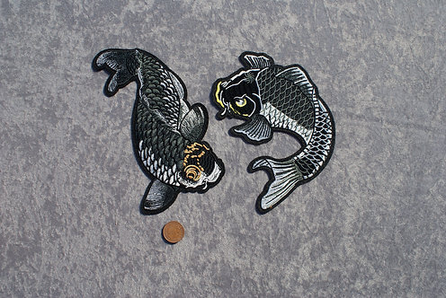 Set of 2 Large Koi Iron On Patch