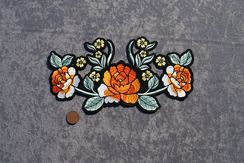 Large Orange Flowers Iron On Patch