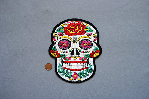 Large Sugar Skull Iron on Patch