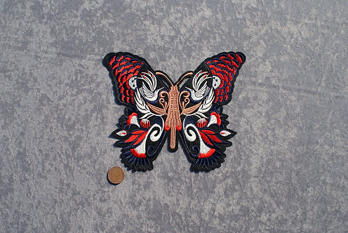 Large Red/White/Brown Butterfly Iron On Patch