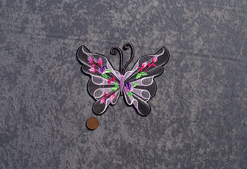 Large Baby Pink Butterfly Iron On Patch