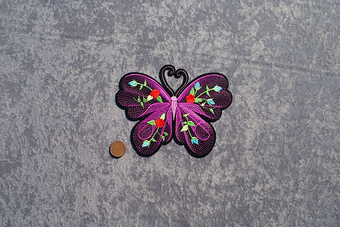 Large Hot Pink Butterfly Iron On Patch