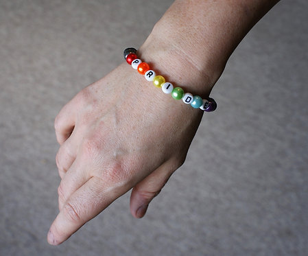 Gunmetal Pride Letter Bracelet