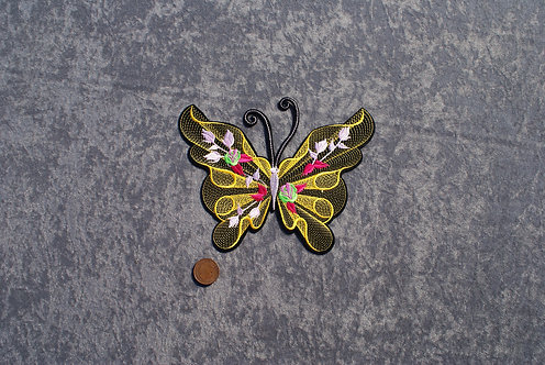 Large Yellow Butterfly Iron On Patch