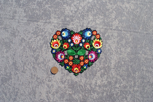 Large Heart Flowers Iron On Patch