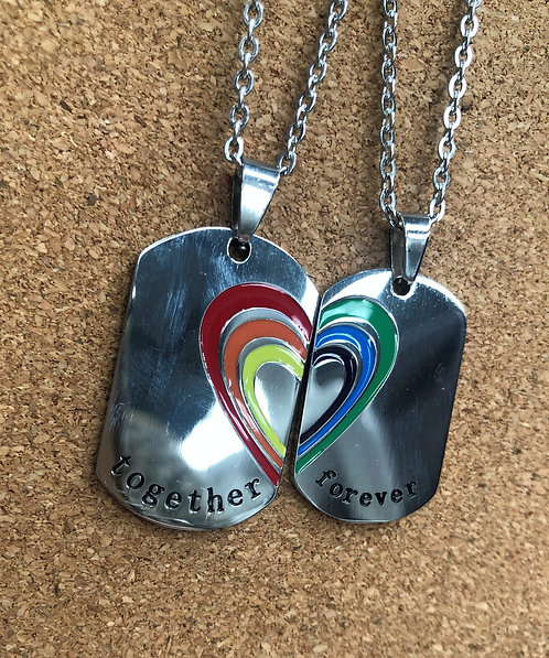 Set of 2 Together Forever Dog Tags (Stainless Steel)