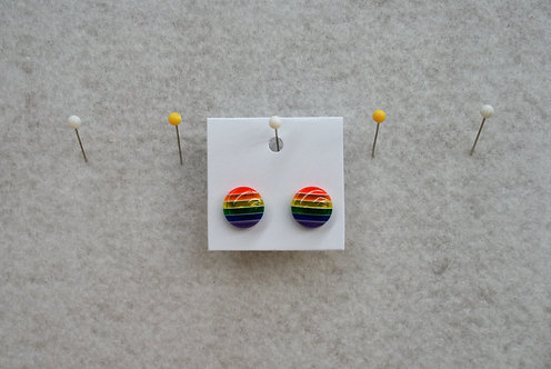 Transparent Rainbow cabochon Stud Earrings
