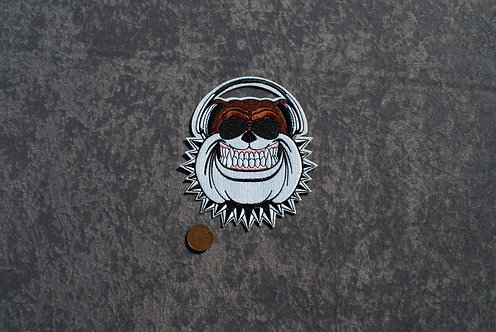 Large BullDog/HeadPhones Iron On Patch