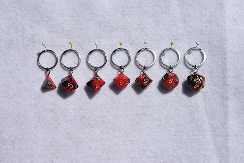 D&D Dice (Red/Black Luster)