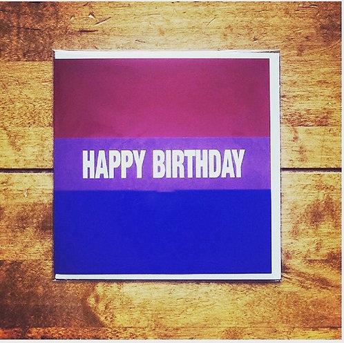 Happy Birthday Bi Pride Card
