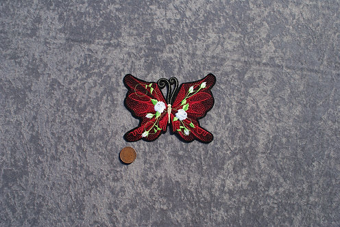 Large Red Butterfly Iron On Patch