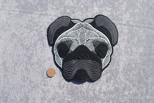 Large Stylised Pug Iron On Patch