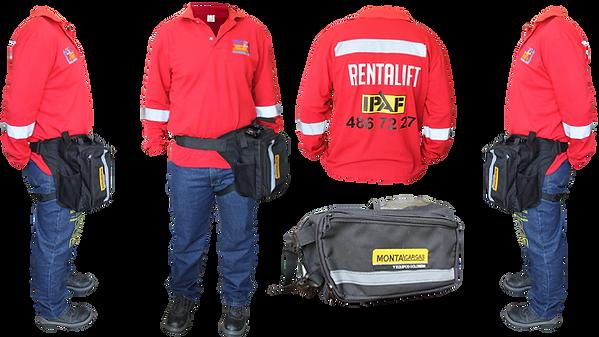 camibuso manga larga rojo retalift con cinta reflectiva piernera bordada jean industrial estampado uniforme completo para empresas
