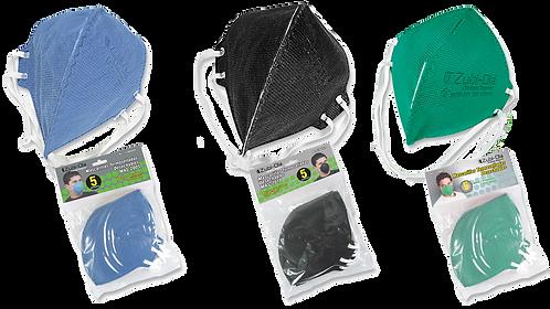 Mascarilla para polvo• Termosellada• Desechable• Bolsa x 5 unidades• 3 Colores