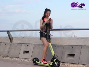 Enjoying breeze on Marina Barrage Bridge