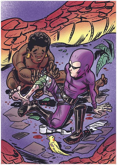 Kid Phantom vs Snake aftermath poster (Phantom Board Game illustration)
