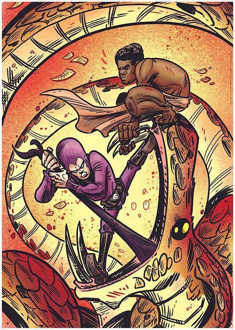 Kid Phantom vs Snake poster (Phantom Board Game illustration)