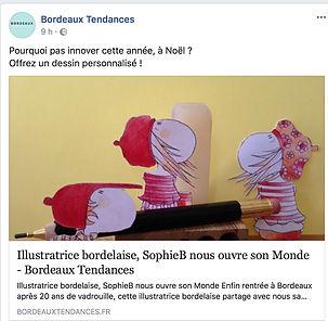 Sophie Bolloré, Dessin de SophieB, article sur Bordeau Tendances, le site !