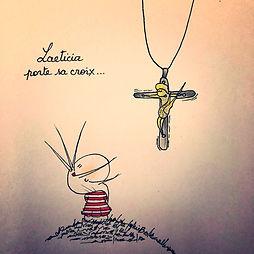 Laeticia Hallyday, porte sa croix. Les dessins de SophieB, Bordeaux.