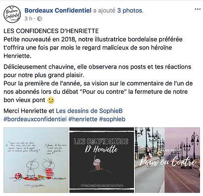 Sophie Bolloré, Les confidences d'Henriette. Sophieb, Bordeaux