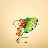 Indienne ou sioux ? Henriette de Bordeaux, dessins humoristiques. BORDEAUX