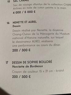 Henriette de Bordeaux vendue aux enchères, lors de la soirée grands singes à Paris. Novembre 2018.