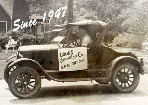 Cook's Jewelry, Carrollton, Georgia. W.F. Cook's first car.