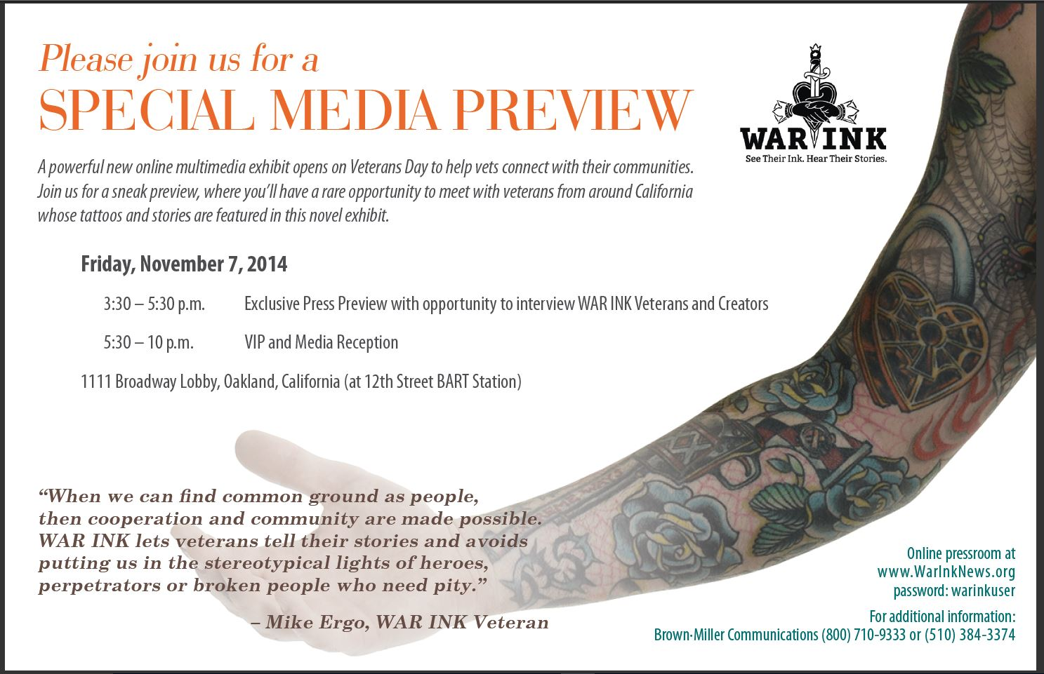 War Ink Media Event Invite
