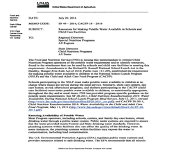 USDA memo issued to schools regarding tap water safety