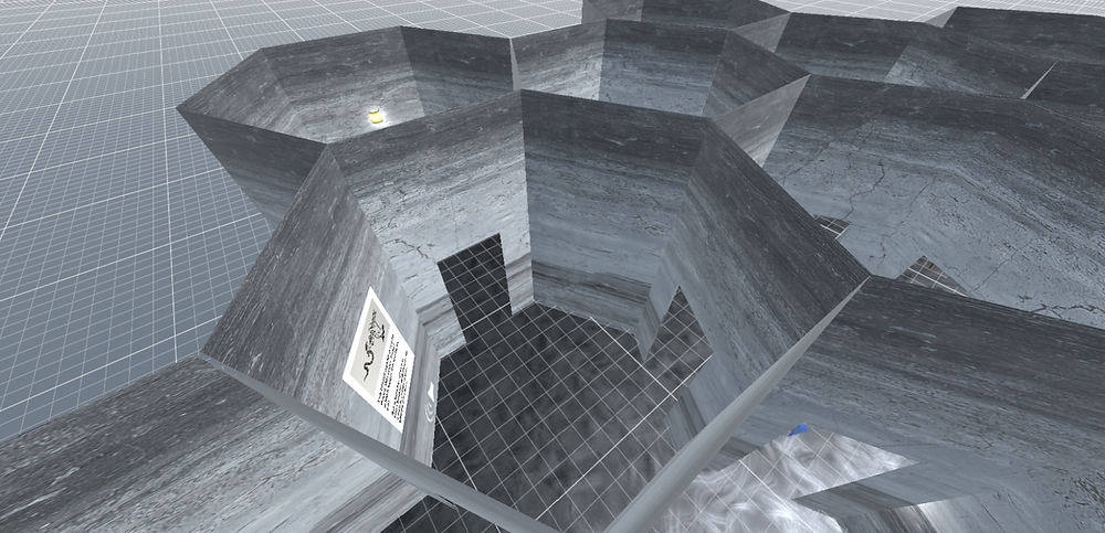 Aerial view of a virtual, 3D model of connecting hexagonal shaped rooms that seem to extend infinitely on a grid.
