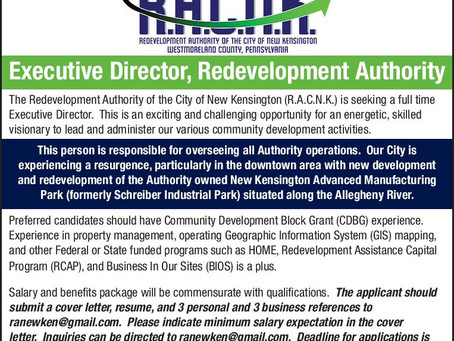 NOW HIRING: Executive Director for the Redevelopment Authority of the City of New Kensington